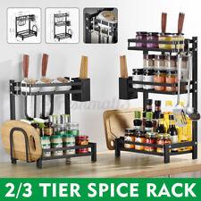 2/3 Tier Spice Rack Storage Bottle Storage Organizer Stainless Steel