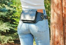 Black Leather Fanny Pack Women, Leather Belt Bag Women, Festival Waist Pack Men