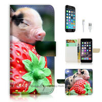 ( For iPhone 6 / 6S ) Wallet Case Cover! Pig Sleep Strawberry P0521