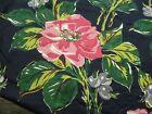 ONE Vtg Heavy Satin Pinch Pleat Curtain Panel Black BIG Pink Floral 47'x81'