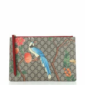 Gucci Zipped Pouch Tian Print GG Coated Canvas Large