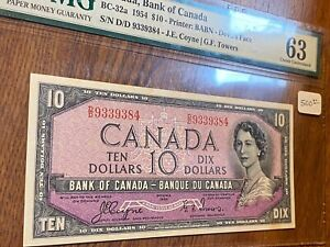 1954 CANADA BC-32A..10 DOLLARS..DEVIL'S FACE..PMG 63..CHOICE UNCIRCULATED..