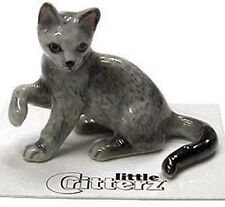 ➸ LITTLE CRITTERZ Cat Miniature Figurine Russian Blue Cat Kitten Silver