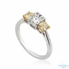 Three Stone Diamond Ring - Radiant D SI1 1.3 Tcw Fancy Yellow 18K Gold Size 6.5