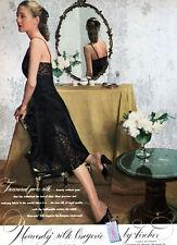 Black Heavenly Silk Slip FISCHER LINGERIE Milk Glass GIRL IN MIRROR 1947 Ad
