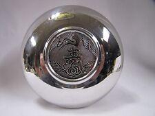 Asian Crane & Rose Chrome Bowl Sung Moon Decorative Lid Vintage