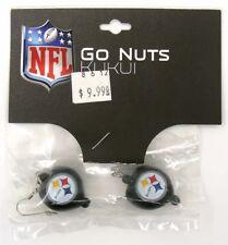 Pittsburgh Steelers NFL Football Dangle Earrings Go Nuts Kukui Nut
