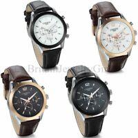 Men's Black Brown Leather Band Watch  Military Sport Analog Quartz Wrist Watch