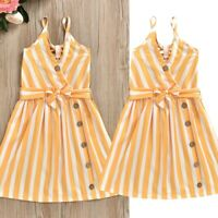 Infant Toddler Kids Baby Girls Strap Striped Dress Sleeveless Princess Sundress