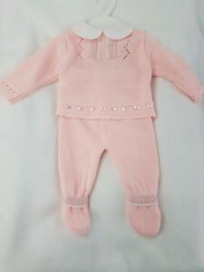 Spanish Knitted Lace and Ribbon Pink Girls 2pc Top and Pants Set - New with tags