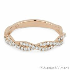 0.25ct Round Diamond Anniversary Band Stackable Right-Hand Ring in 14k Rose Gold