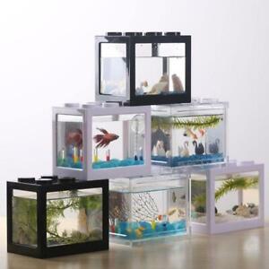 USB Mini Fish Tank Small Aquarium LED Betta Aquarium Office Desktop Decor.