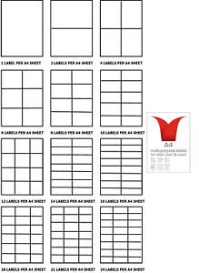 A4 Address Labels - Laser Copier Inkjet self adhesive sticky label