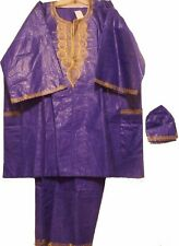 Men's Dashiki African Clothing Brocade Pant Set 3 pieces Traditional Ethnic suit