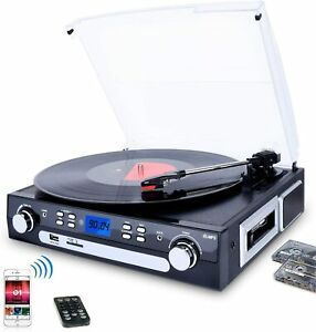 DIGITNOW! Vinyl Record Player, Bluetooth Turntable Stereo Speakers MP3 AM/FM