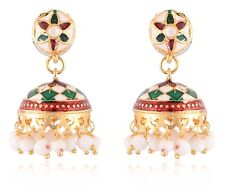 Indian Women Fashion Jewelry Gold Plated Attractive Meenakari Jhumka Earrings
