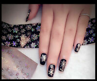 Christmas SILVER Snowflakes Sparkle Xmas 3D Nail Art Sticker Decals UV Manicure`