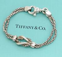 TIFFANY&Co Double Rope Love Knot Bracelet Silver 925 Bangle NN