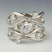 Elegant Women 925 Silver Wedding Rings Jewelry White Sapphire Rings Size 6-10 US