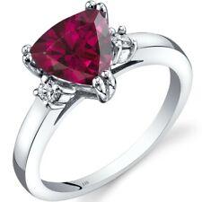 14K White Gold Created Ruby Diamond Ring Trillion Cut 2.25 Carat Size 7