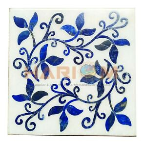 "15"" White Marble Square Side Coffee Table Top Lapis Lazuli Mosaic Inlay Art W571"