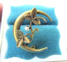 10K Victorian Bridal BROOCH Yellow Gold Crescent Moon Seed Pearl Leaves Vintage