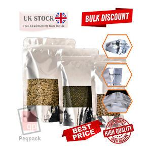 Window Aluminium Silver Stand Up Pouches Mylar Food Grade Zip Lock Heat Seal Bag