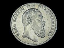 Dt. Reich, Württemberg, 5 Mark, 1876 F, Karl., Silber, orig., ss.!