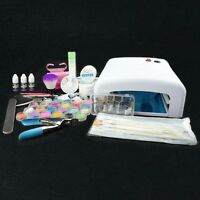 36W UV Lamp Dryer French Nail Tips Glitter Powder Pearl Nail Art UV Gel Deco Kit