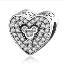 NEW Fashion Heart European CZ Charm Crystal Spacer Beads Fit Necklace Bracelet ·