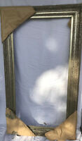 "Ornate Wooden Wood Muted Gold Gilt Gesso Large Picture Frame 23 1/4""X 47"" 31 x56"