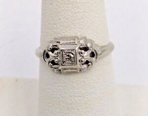 10K White Gold .04ct Estate Filigree Diamond Ladies Ring Size 5 1/2