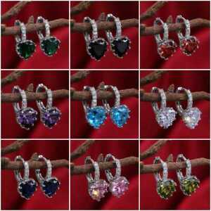 9 Colors Elegant Drop Earrings Women 925 Silver Jewelry Cubic Zircon A Pair/set