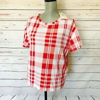 Zara Trafaluc Red & White Plaid Short Sleeve Knit Casual Top Womens size Small S