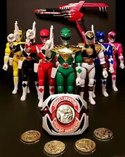 Mighty morphin Power rangers morpher blaster coins green white action figures.