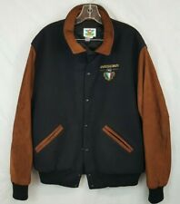 Vtg Rossignol Ski Gear Leather Wool Bomber Varsity Jacket Size L USA Made 80s