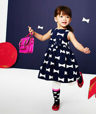 NWT GAP KATE SPADE New York 4 Navy Dress White bows Toddler Girl Designer 4T