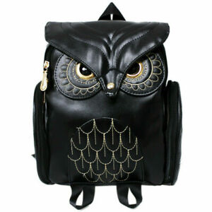 Fashion Women Owl Backpack Embossed Zipper School Bag Daypacks Bookbag cute