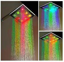 XXL LED Duschkopf Eckig Regendusche Duschbrause LED Kopfbrause Regenbrause