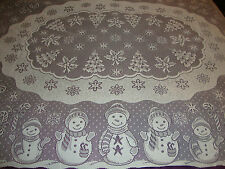 New Christmas Ivory lace Snowman design Tablecloth 52 x 70