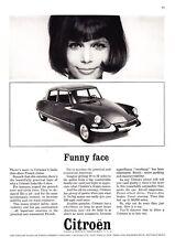 "1964 Citroen 4-door Sedan photo ""French Charm... Funny Face"" promo print ad"