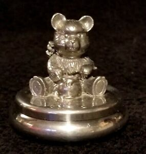 Vintage Pewter Baby's First Tooth Box With Teddy Bear By Sheffield Mint