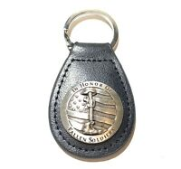 In Honor Of Fallen Soldier Concho Hand Crafted Black Leather Keychain Fob New