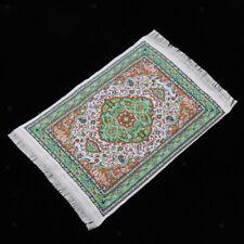 Doll House Rug for Dollhouse Furniture Miniature Woven Carpet 6 x 4'' -Green