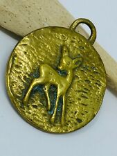 Modernist Vintage Pendant, Bambi, Baby Deer, Double Sided Necklace Pendant