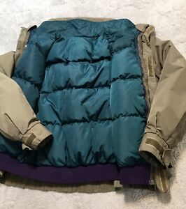 Vintage Columbia Whirlibird Men's L Purple/Army Green Down  Fill 3 In 1 Jacket