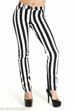Cotton Striped Mid-Rise Jeans for Women