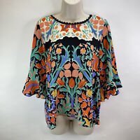 Maeve Anthropologie Folkart Silk Kimono Bold Floral Print Top Blouse Size 4 Boho