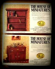 2 DOLL HOUSE OF MINIATURES KITS, HUTCH & OPEN CABINET TOP, ANTIQUE REPLICAS