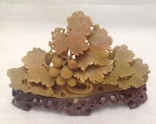 """Soapstone Carving, Leaves, Berry, on Pedestal, Brown, 4"""" x 5"""", Bonsai Scenery"""